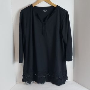 Lands' End Black W/ Crochet Detail Tunic Top, L